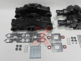 Mercruiser V8-5.0, 5.7, 6.2L Dry Joint Išmetimo kolektoriai + alkūnės 7°, pilnas k-tas  865735A03 + 864309T01 x 2